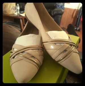 Cream and gold flats